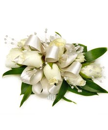 Deluxe White Sweetheart Rose Wrist Corsage, Satin Ribbon w/ Pearls