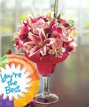 'A Toast To You' Margarita flower arrangement featuring pink lilies and roses
