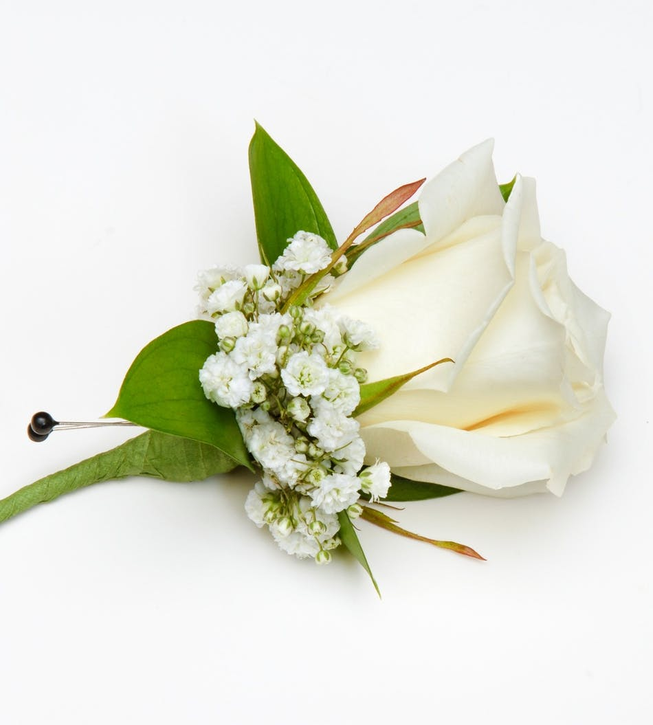 Classic white rose boutonniere carithers flowers voted best delivery by 10am tomorrow available order within izmirmasajfo