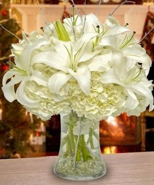 Winter flower arrangements, Hydrangea, Lilies, Unique Flowers Carithers Atlanta