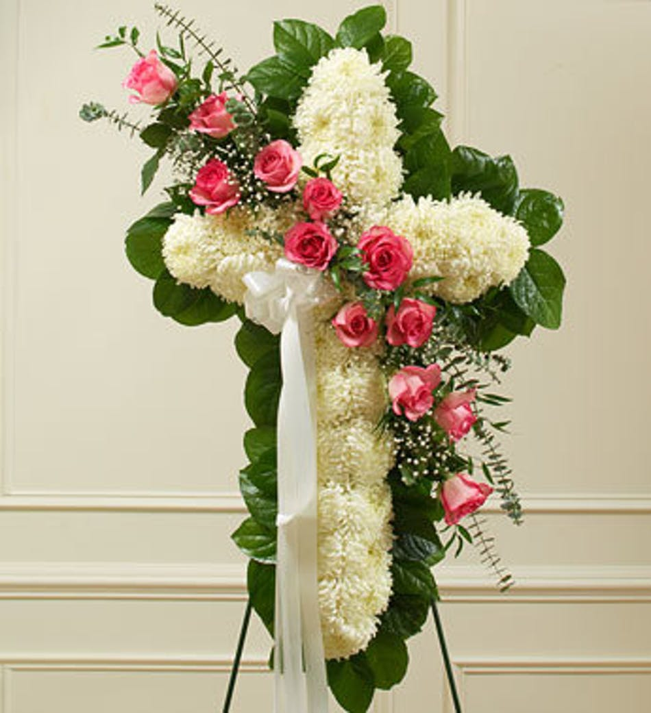 Funeral flower cross with pink sash delivery by 2pm today available order within izmirmasajfo