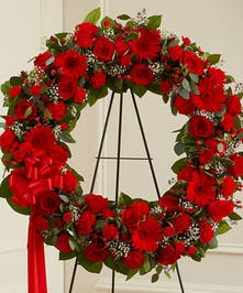 Gorgeous Standing Wreath in a Mix of Red Flowers