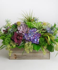 Highlands large garden box with hydrangea, orchids, roses, and lush foliages