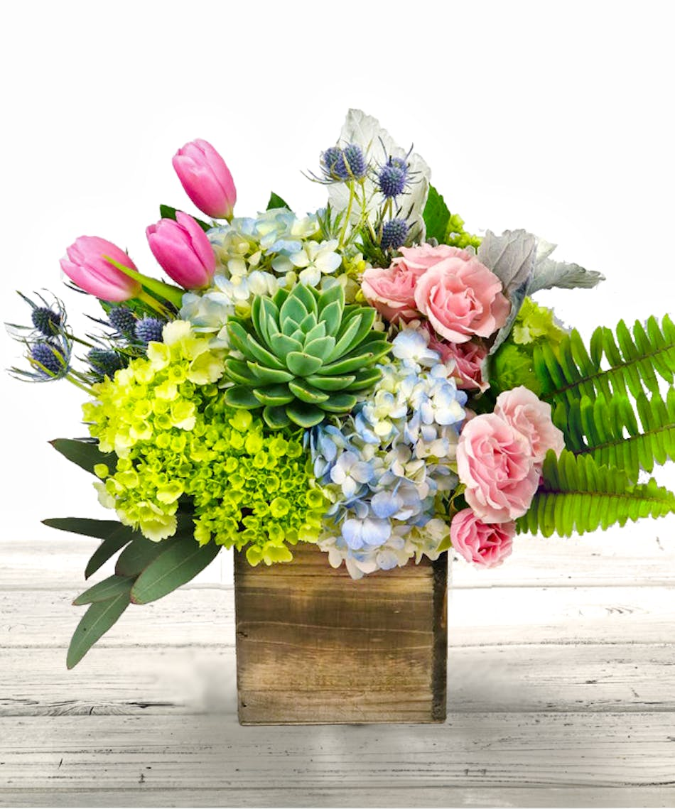 Spring Flower Arrangement Featuring Hydrangea Roses And Succulents