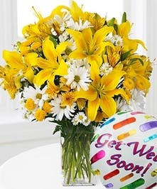 Yellow Lilies and Daisies Flower Arrangement with Get Well Soon Balloon, Carithers Flowers Atlanta