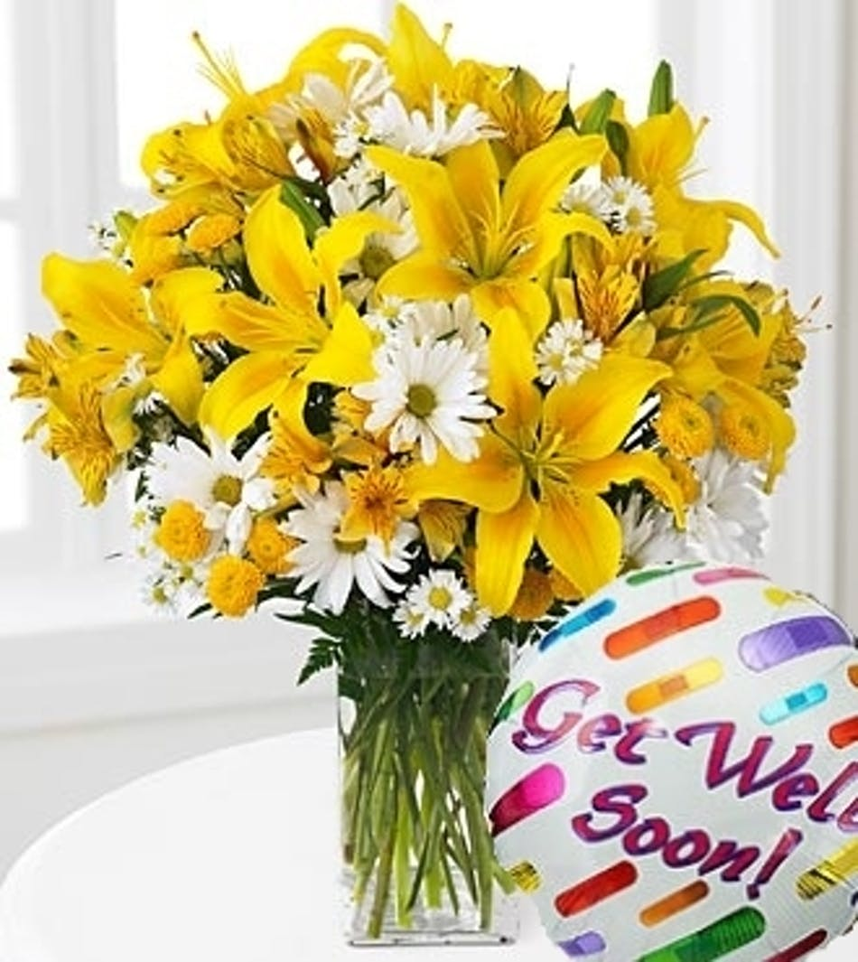 Get well soon flower arrangement carithers flowers atlanta yellow lilies and daisies flower arrangement with get well soon balloon carithers flowers atlanta izmirmasajfo