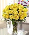 Yellow Roses with Get Well Soon Mylar