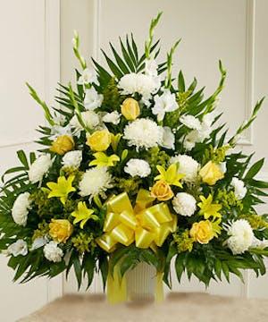 Yellow & White Tribute Sympathy Basket