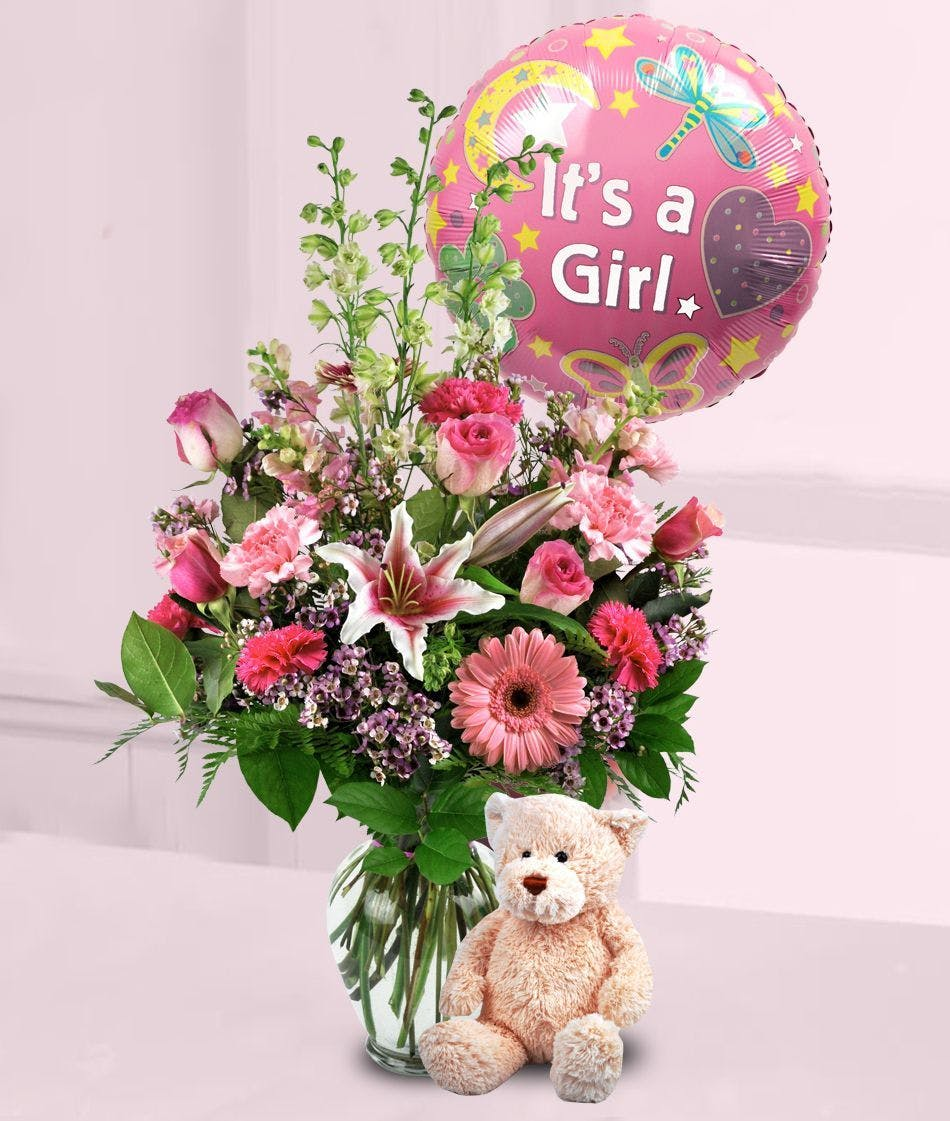 New Baby Girl Surprise Bouquet