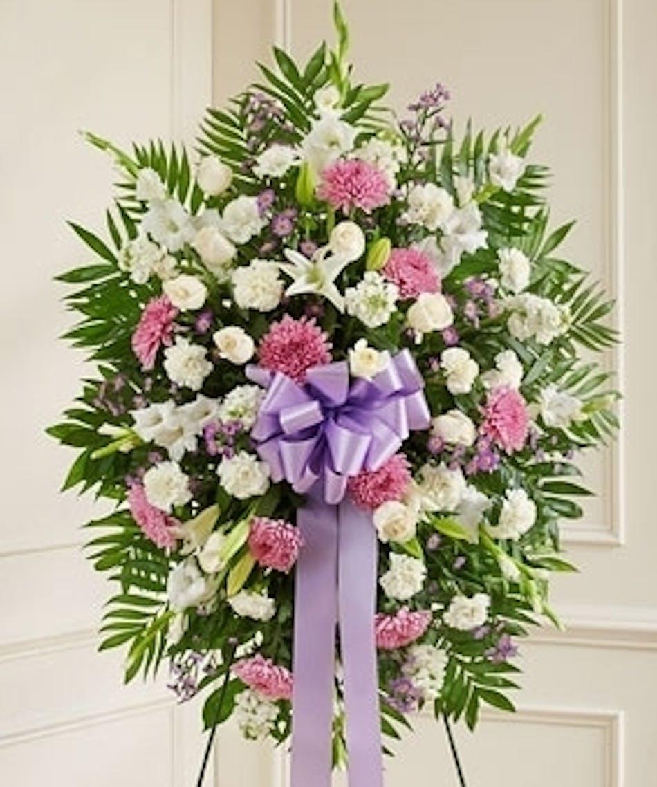 Standing funeral spray in lavender izmirmasajfo