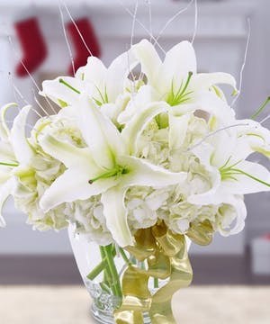 Holiday Fresh Flowers, White Lilies, Roses, Luxury Fresh Flowers, Carithers Flowers Atlanta GA