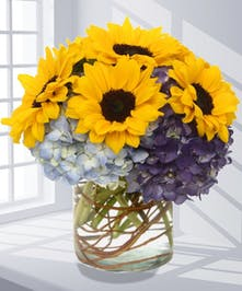 Sunflowers & Hydrangea Flower Arrangement, Carithers Flowers Atlanta