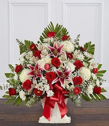 Red Roses & Lily Basket
