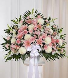 Heartfelt Sympathy Basket in Pink & White