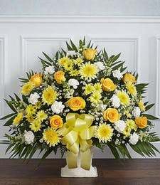 Heartfelt Sympathy Basket in Yellow & White