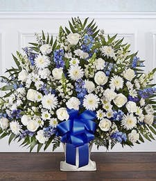 White & Blue Heartfelt Sympathy Basket