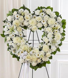 Open Heart Wreath in Whites