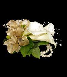 White Mini Calla Wrist Corsage with pearls