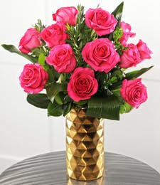 Dozen Hot Pink Candy Roses