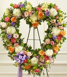 Open Heart Wreath in Spring Colors