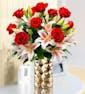 Dozen Red Roses & Lilies | Gold Vase