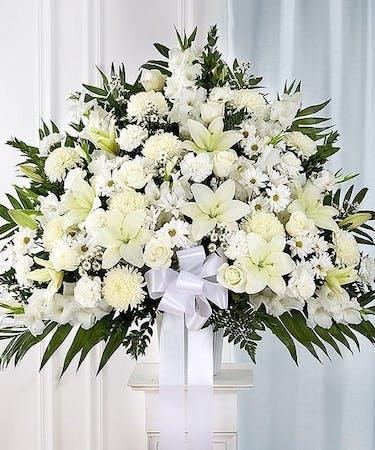 Elegant White Sympathy Basket, Carithers Flowers Atlanta