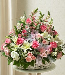 Garden of Sympathy Basket  - Pinks & Whites