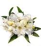 White Rose & Freesia Wrist Corsage w/ Diamond Sprays