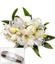 Deluxe White Spray Roses, Freesia Wrist Corsage w/ Diamonds