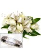 White Sweetheart Roses with Pearls + Diamond Wristlet