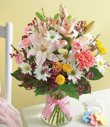 Baby Girl Pink & White Bouquet