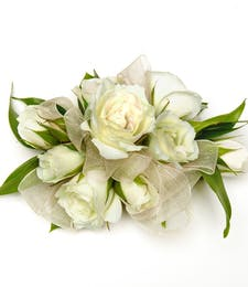 White Sweetheart Rose Corsage with wristlet