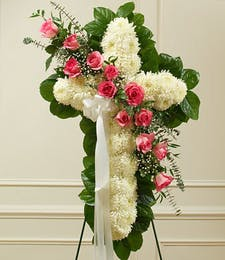 Funeral Standing Cross with 12 Pink Roses